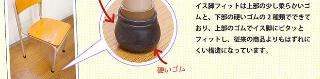 イス脚フィットは上部の少し柔らかいゴムと、下部の硬いゴムの2種類でできており、上部のゴムでイス脚にピタッとフィットし、従来の商品よりもはずれにくい構造になっています。